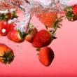 Strawberry Background in Water - Stock Photo