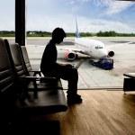 Airport Computer Work — Stock Photo