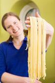 Homemade Pasta Fettuccine Detail — Stock Photo