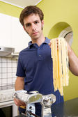 Homemade Pasta Fettuccine — Stock Photo