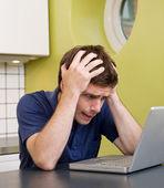 Worried at Computer — Stock Photo