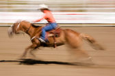 Galloping Horse with Cowgirl — Stock Photo