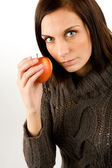 Woman eating Apple — Stock Photo