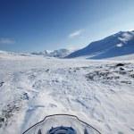 Snowmobile Winter Landscape — Stock Photo