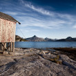 Norway Coast Boat House — Stockfoto