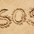 Stock Photo: S.O.S written in the sand of an island with the ocean in the distance