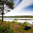 Stock Photo: Camping by Lake