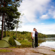 Camping by Lake — Stock Photo