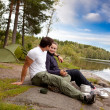 Man and Woman Camping - Stock Photo