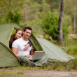 Computer Outdoor Tent — Stock Photo