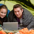 Camping with Computer — Stock Photo