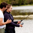Happy Fishing Woman — Stock Photo