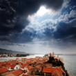 Medieval Town Dramatic Sky — Stock Photo