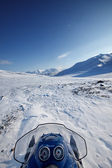 Snowmobile Winter Landscape — Stock Photo