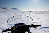 Snowmobile in Winter Landscape — Stock Photo