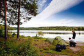 Camping by Lake — Stock Photo