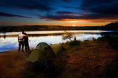 Camping Lake Sunset — Stock Photo