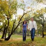 Park Couple Walk — Stock Photo