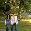 Couple Walk Park — Stock Photo