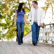 Stock Photo: Couple Walk Bridge