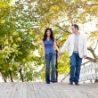 Couple Walk Bridge — Stock Photo