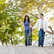 Couple Walk Bridge — Foto Stock