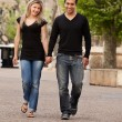 European Couple Walk — Stock Photo