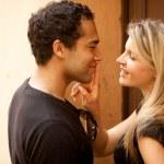 Couple Flirt Kiss — Stock Photo