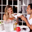 Happy Couple in Outdoor Cafe — Stock Photo