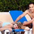 Pool Side Back Massage — Stockfoto