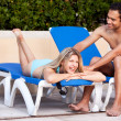 fun piscine relax couple — Photo