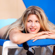 Woman On Beach Chair — Stock Photo