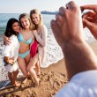 camera phone beach potrait — Stock Photo