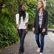 Women enjoying walk in park — Stock Photo