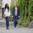 Young female friends having a chat while walking — Stock Photo