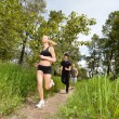 Stock Photo: Three running on pathway