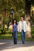 Happy Couple Walk — Stock Photo