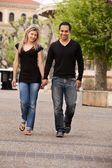 European Couple Walk — Stock Photo