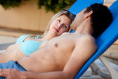Attractive Couple by Pool — Stock Photo