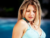 Woman in Bikini Beside Pool — Stok fotoğraf