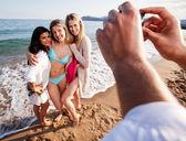 Kamera telefon plaj potrait — Stok fotoğraf