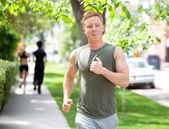 Running on walkway — Stock Photo