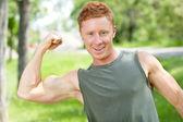 Sportlichen mann ergebnis muskeln — Stockfoto