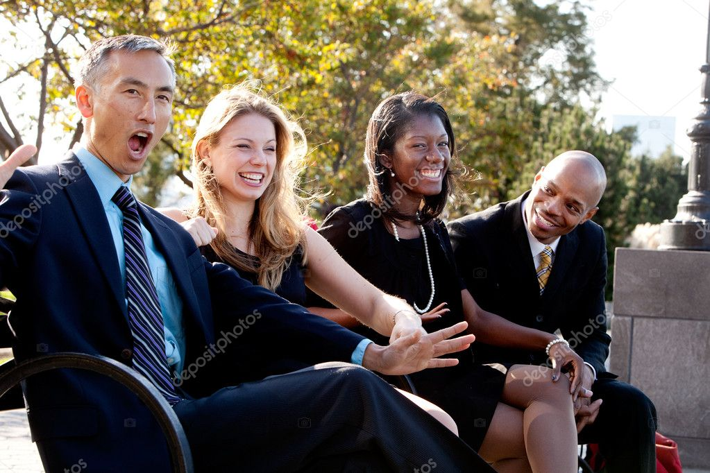 A group of business having fun and joking — Stock Photo #5702423