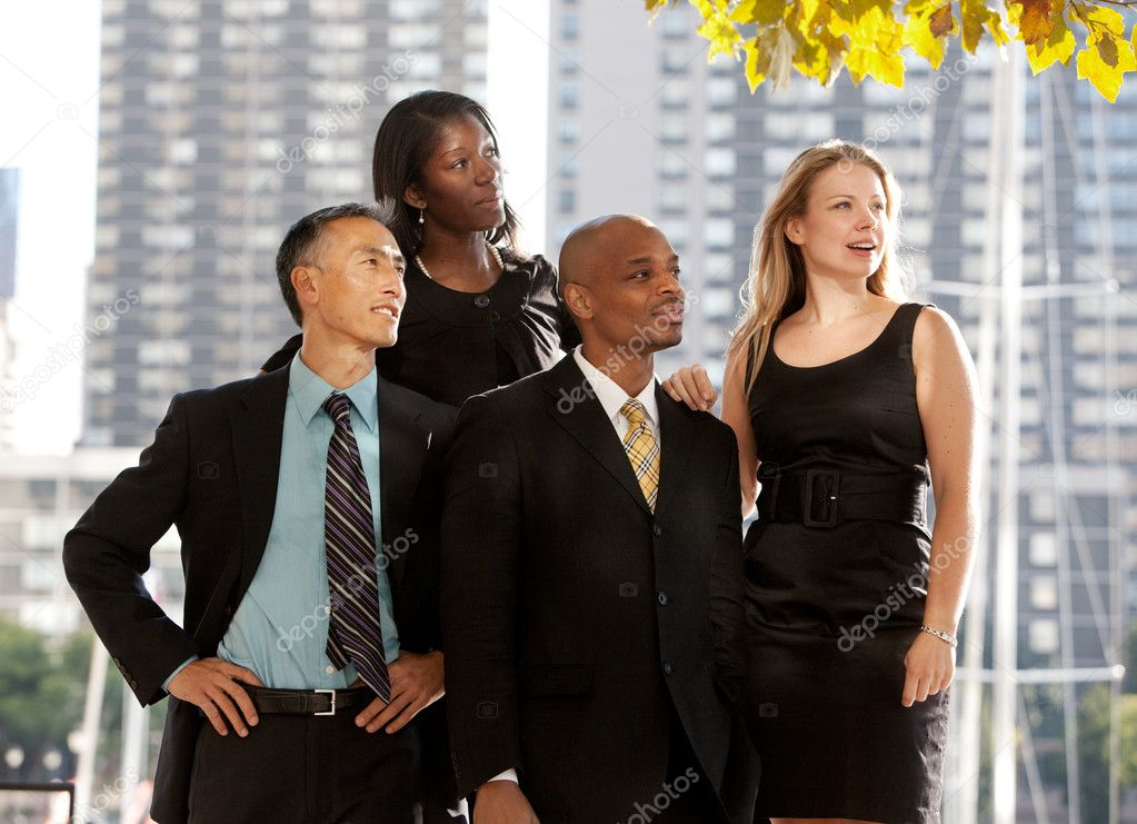 A business team looking to the side or into the distance  Stock Photo #5702483