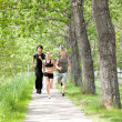 Friends jogging during morning time — Stock Photo #5710045