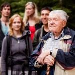 Elderly Man Tour Guide — Stock Photo