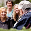 Elderly Hiking Guide — Stock Photo