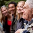 Elderly Man Telling Stories — Stock Photo
