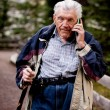 Senior on Cell Phone — Stock Photo